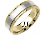 2-Tone Gold Mirror Effect Wedding Band 6.5mm TT-1364