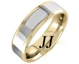 Two Tone Gold Polished Wedding Band 6.5mm TT-1365