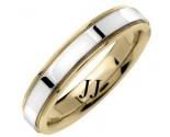Two Tone Gold Flat Polished Wedding Band 4.5mm TT-1367