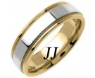 Two Tone Gold Flat Polished Wedding Band 6.5mm TT-1368