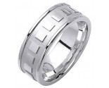 White Gold Fancy Wedding Band 8mm WG-1374