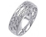White Gold Fancy Wedding Band 7mm WG-1379