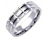White Gold Fancy Wedding Band 6mm WG-1382