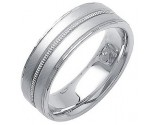 White Gold Fancy Wedding Band 7mm WG-1390