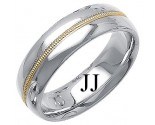 Two Tone Gold Fancy Wedding Band 7mm TT-1401