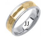 Two Tone Gold Fancy Wedding Band 7mm TT-1402