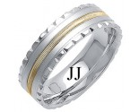 Two Tone Gold Fancy Wedding Band 7mm TT-1403