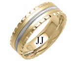 Two Tone Gold Fancy Wedding Band 7mm TT-1393