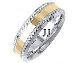 Two Tone Gold Fancy Wedding Band 7mm TT-1404