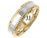 Two Tone Gold Fancy Wedding Band 7mm TT-1396