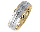 Two Tone Gold Fancy Wedding Band 7mm TT-1405
