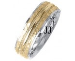 Two Tone Gold Fancy Wedding Band 7mm TT-1397