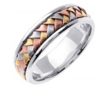 Tri Color Gold Hand Braided Wedding Band 7mm TC-357