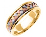 Tri Color Gold Hand Braided Wedding Band 7mm TC-357B