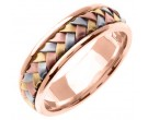 Tri Color Gold Hand Braided Wedding Band 7mm TC-357C