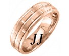 Rose Gold Brick Wedding Band 6.5mm RG-1453