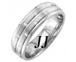 White Gold Brick Wedding Band 6.5mm WG-1453