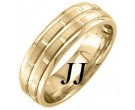 Yellow Gold Brick Wedding Band 6.5mm YG-1453