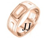 Rose Gold Oval Bars Wedding Band 7.5mm RG-1455