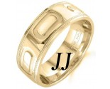 Yellow Gold Oval Bars Wedding Band 7.5mm YG-1455