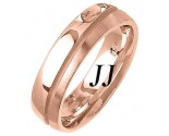 Rose Gold Two Face Wedding Band 6mm RG-1460