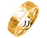 Yellow Gold Shark Teeth Wedding Band 7mm YG-1462