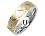 Two Tone Gold Shark Teeth Wedding Band 7mm TT-1462B