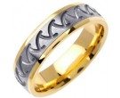 Two Tone Gold Shark Teeth Wedding Band 6mm TT-1466