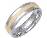 Two Tone Gold Sandblasted Wedding Band 6mm TT-1468