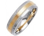 Two Tone Gold Fancy Wedding Band 6mm TT-1469