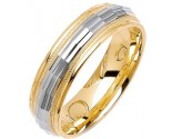 Two Tone Gold Fancy Wedding Band 6mm TT-1470