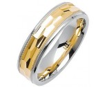 Two Tone Gold Fancy Wedding Band 6mm TT-1472
