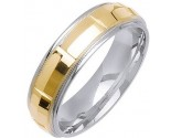 Two Tone Gold Fancy Wedding Band 6mm TT-1473