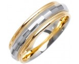 Two Tone Gold Fancy Wedding Band 6mm TT-1474