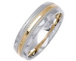 Two Tone Gold Fancy Wedding Band 6mm TT-1475