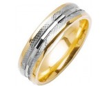 Two Tone Gold Fancy Wedding Band 6mm TT-1476