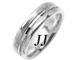 White Gold Fancy Wedding Band 6mm WG-1476