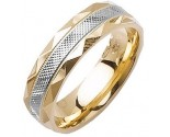 Two Tone Gold Fancy Wedding Band 6mm TT-1477