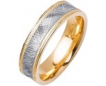 Two Tone Gold Fancy Wedding Band 6mm TT-1478