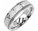 White Gold Designer Wedding Band 6.5mm WG-1479