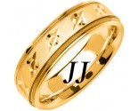 Yellow Gold Designer Wedding Band 6.5mm YG-1479