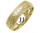Yelllow Gold Designer Wedding Band 7mm YG-1493