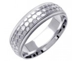White Gold Designer Wedding Band 6mm WG-1499