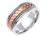 Two Tone Gold Hand Braided Wedding Band 8mm TT-154