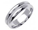 White Gold Single Braid Wedding Band 6.5mm WG-1552