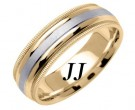 Two Tone Gold Twin Blade Wedding Band 6.5mm TT-1553