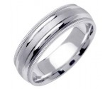White Gold Twin Blade Wedding Band 6.5mm WG-1553
