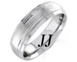 White Gold Line Blasted Wedding Band 6.5mm WG-1555