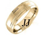 Yellow Gold Line Blasted Wedding Band 6.5mm YG-1555