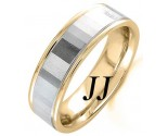 Two Tone Gold Mirror Effect Wedding Band 6.5mm TT-1557